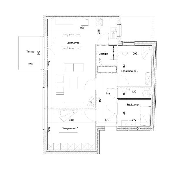 Typeplan De Hopman - 2 slaapkamers